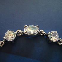 Срібний жіночий браслет з камінням і ланцюжком, 180-230мм, фото 3