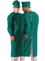 Халат хирурга зеленого цвета, 100% хлопок