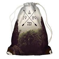 """Рюкзак мешок молодежный темно-коричневый с принтом """"Наслаждайся путешествием"""" ,магазин рюкзаков"""