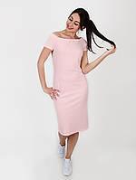 Трикотажное Платье С Оголенными Плечами - 1025