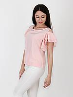 Блуза с оголенными плечами и воланами - 1026