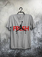 Серая футболка Jordan Fresh Air Фреш Аир Джордан (большой принт)