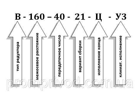 Схема условных обозначений редуктора В-160-40