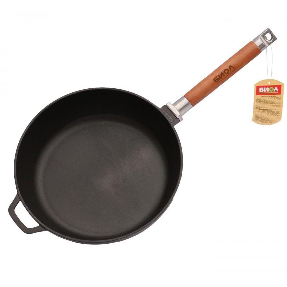 Сковорода чугунная глубокая со сьемной ручкой 26см Биол 0326