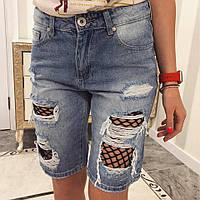 Джинсовые шорты с сеткой
