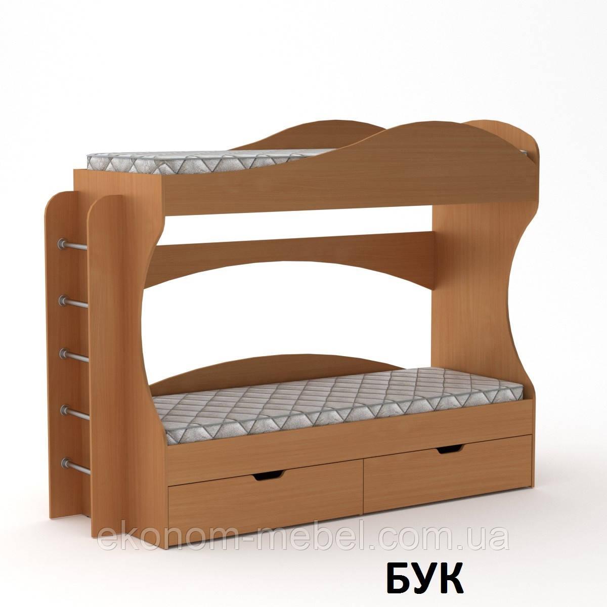 Ліжко двоярусне Бриз з ящиками для будинку або дитячого табору