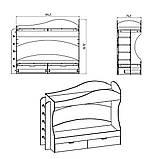Ліжко двоярусне Бриз з ящиками для будинку або дитячого табору, фото 3