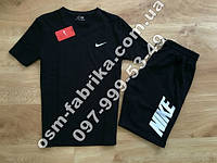 Стильный мужской летний комплект NIKE черная футболка + черные шорты Nike