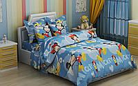 Полуторный детский комплект постельного белья Микки Маус (голубой фон)