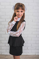 Платье школьное с баской черное