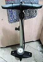 Насос с монометром, модель 55R, алюминиевыйнасос велосипедный пластиковый, цвет: красный, синий,черный,серый GIYO Тайвань