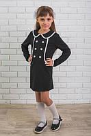 Платье школьное с пуговицами черное