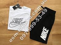 Мужской летний комплект NIKE белая футболка + черные шорты Nike