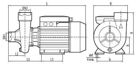 Центробежный бытовой поверхностный насос Sprut 2DK20 размеры
