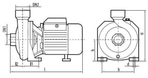 Побутовий відцентровий поверхневий насос Sprut HPF 350 розміри