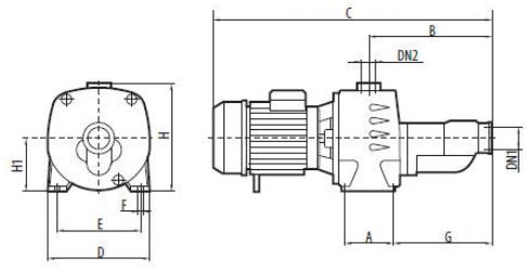 Самовсасывающий электрический бытовой насос Sprut JA 300 размеры