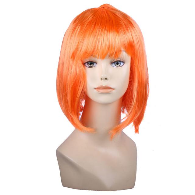 Оранжевый карнавальный парик с прической боб-каре с челкой