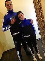 Спортивный детский костюм трикотажный с лампасами, лого Adidas, серия папа и сын