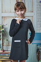 Платье школьное с воротником черное