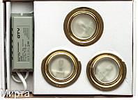 Набор 3 светильника+трансформатор 3H-5/L золото GTV (БС)