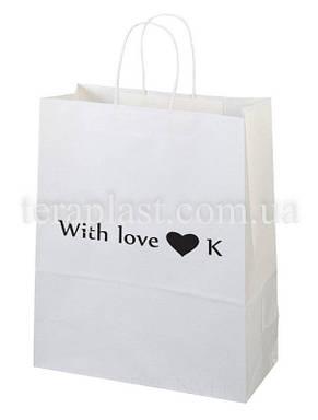 Пакет бумажный белый с печатью 320х150х380 1+0, фото 2