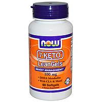 Now Foods, 7-Кето, LeanGels, Контроль веса, 100 мг, 60 капсул