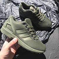 Кроссовки Adidas ZX Flux Khaki. Живое фото. Топ качество (адидас кроссовки)