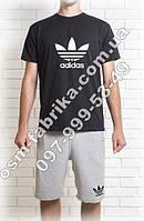 Летний комплект для мужчин ADIDAS черная футболка + серые шорты ADIDAS