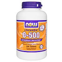Now Foods, Жевательный витамин C-500 со вкусом апельсина, 100 таблеток