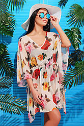 Женская пляжная туника с ярким принтом Бежевые розы