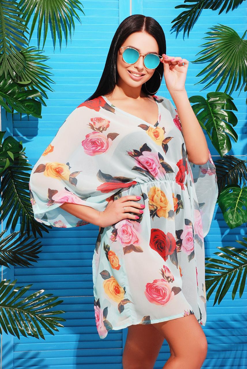 Женская пляжная туника с ярким принтом Мятные розы