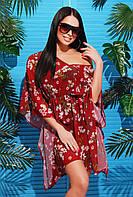 Женская пляжная туника с ярким принтом Бордовые цветы