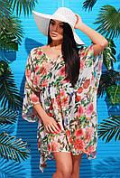 Женская пляжная туника с ярким принтом Белые цветы