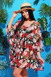Жіноча пляжна туніка з яскравим принтом Чорні квіти