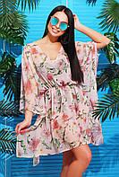 Женская пляжная туника с ярким принтом Розовая вишня