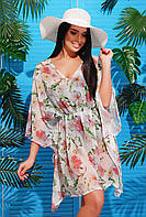 Женская пляжная туника с ярким принтом Белая вишня