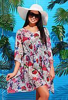 Женская пляжная туника с ярким принтом Мятные цветы