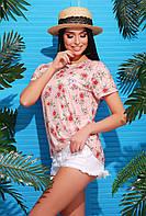 Легкая летняя женская футболка цветочный принт персик