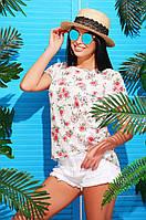 Легкая летняя женская футболка цветочный принт молоко