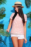 Воздушная тонкая летняя блузка Розовый фламинго