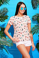 Воздушная тонкая летняя блузка Розовая