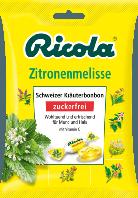 Ricola Zitronenmelisse Bonbon zuckerfrei - Натуральные травяные леденцы Лимон-мелисса с витамином С, 75 г