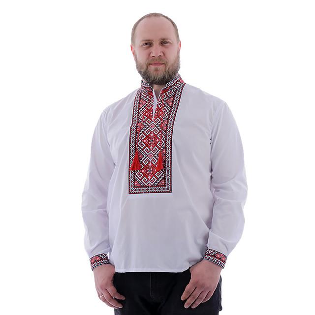 Мужская рубашка с красной вышивкой на домотканом полотне