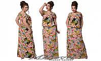 Летнее платье в пол из штапеля Шейла(размеры 50-56)