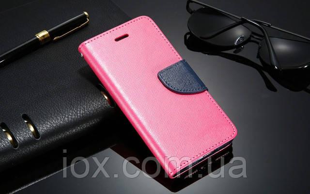 Яскраво-рожевий чохол-книжка з ремінцем на руку і функцією підставки для Iphone 5/5S