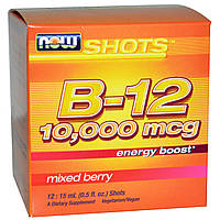 Now Foods, Shots, B-12, Смесь ягод, 12 доз, (15 мл) каждая