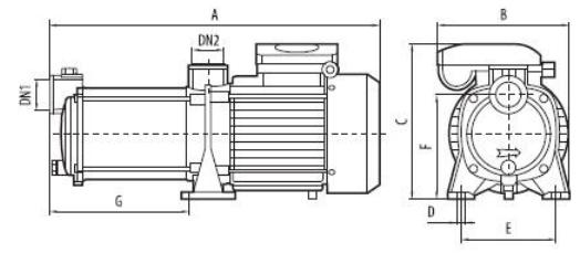 Центробежный бытовой многоступенчатый насос Sprut MRS 3 размеры
