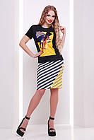 Стильная летняя черная футболка для девушек с ярким принтом Пляж