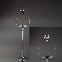 Ваза- подсвечник серебристый, стойка  для цветочных композиций, 125 см