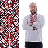 Мужская рубашка с красной вышивкой на домотканом полотне, фото 1